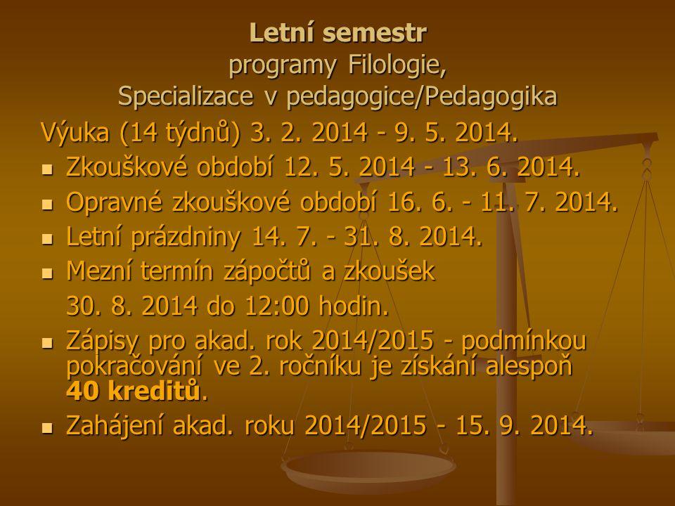 Letní semestr programy Filologie, Specializace v pedagogice/Pedagogika Výuka (14 týdnů) 3. 2. 2014 - 9. 5. 2014. Zkouškové období 12. 5. 2014 - 13. 6.