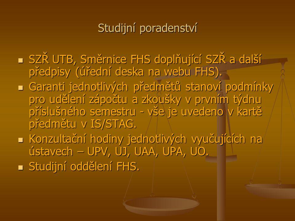 Studijní poradenství SZŘ UTB, Směrnice FHS doplňující SZŘ a další předpisy (úřední deska na webu FHS).