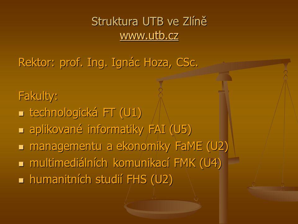 Struktura UTB ve Zlíně www.utb.cz www.utb.cz Rektor: prof.