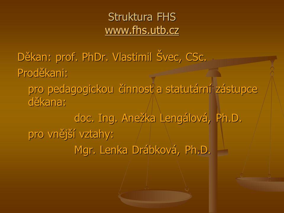 Struktura FHS www.fhs.utb.cz www.fhs.utb.cz Děkan: prof.