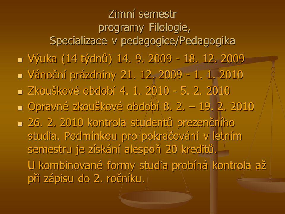 Zimní semestr programy Filologie, Specializace v pedagogice/Pedagogika Výuka (14 týdnů) 14.