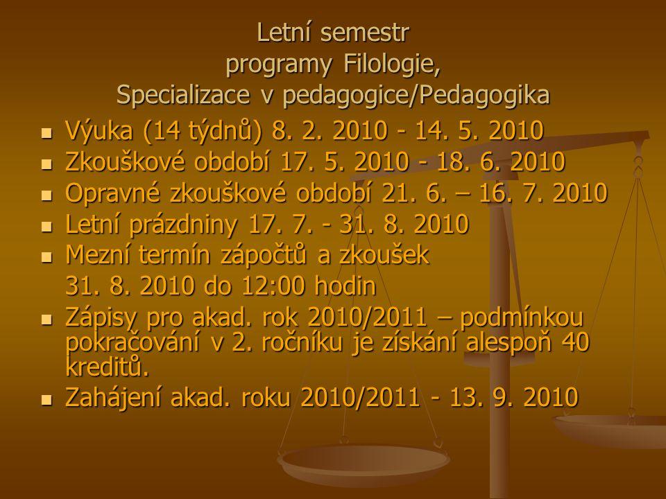 Letní semestr programy Filologie, Specializace v pedagogice/Pedagogika Výuka (14 týdnů) 8.