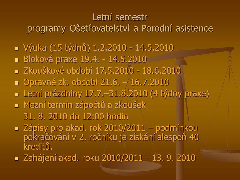 Letní semestr programy Ošetřovatelství a Porodní asistence Výuka (15 týdnů) 1.2.2010 - 14.5.2010 Výuka (15 týdnů) 1.2.2010 - 14.5.2010 Bloková praxe 19.4.