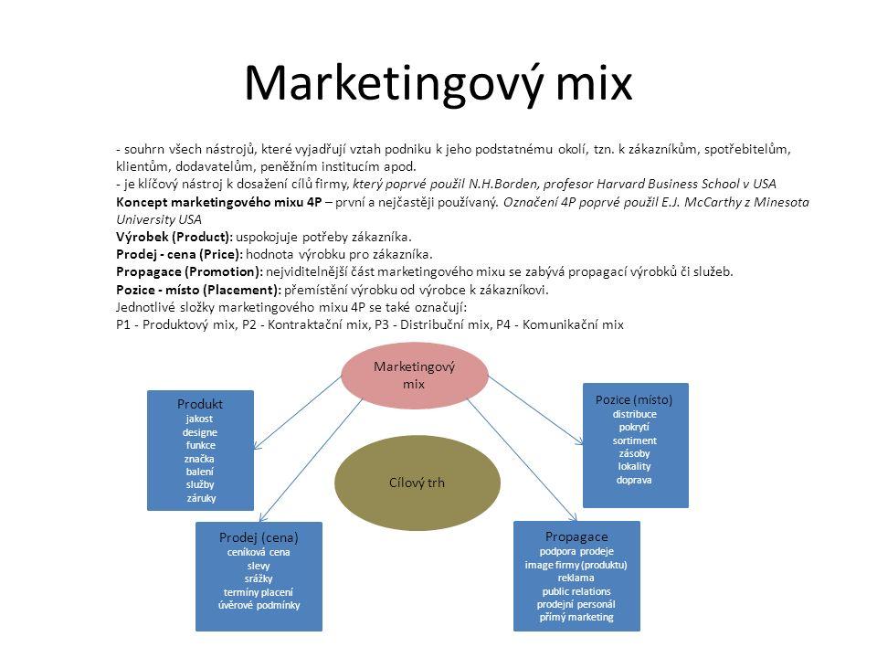 Marketingový mix - souhrn všech nástrojů, které vyjadřují vztah podniku k jeho podstatnému okolí, tzn.