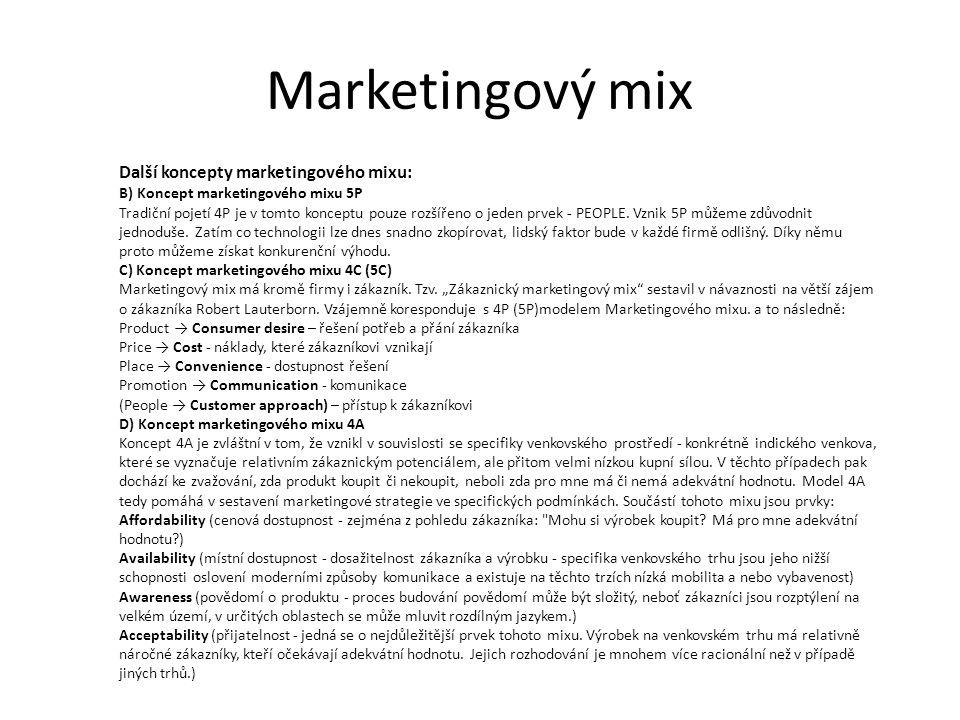 Marketingový mix Další koncepty marketingového mixu: B) Koncept marketingového mixu 5P Tradiční pojetí 4P je v tomto konceptu pouze rozšířeno o jeden prvek - PEOPLE.