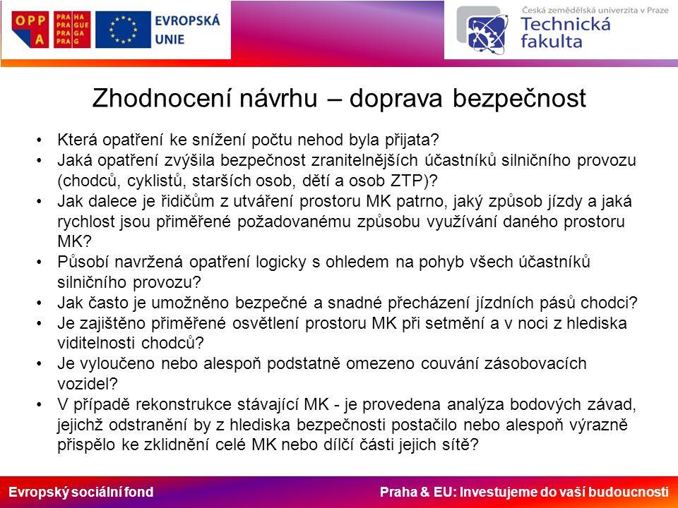 Evropský sociální fond Praha & EU: Investujeme do vaší budoucnosti Zhodnocení návrhu – doprava bezpečnost Která opatření ke snížení počtu nehod byla přijata.