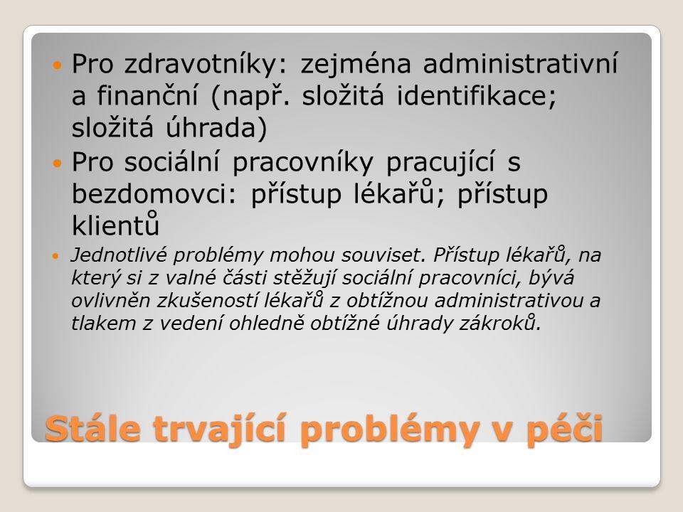 Stále trvající problémy v péči Pro zdravotníky: zejména administrativní a finanční (např.