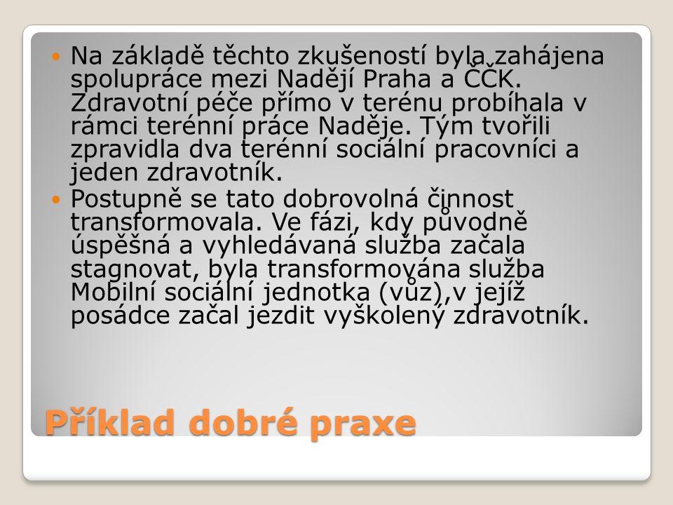 Příklad dobré praxe Na základě těchto zkušeností byla zahájena spolupráce mezi Nadějí Praha a ČČK.