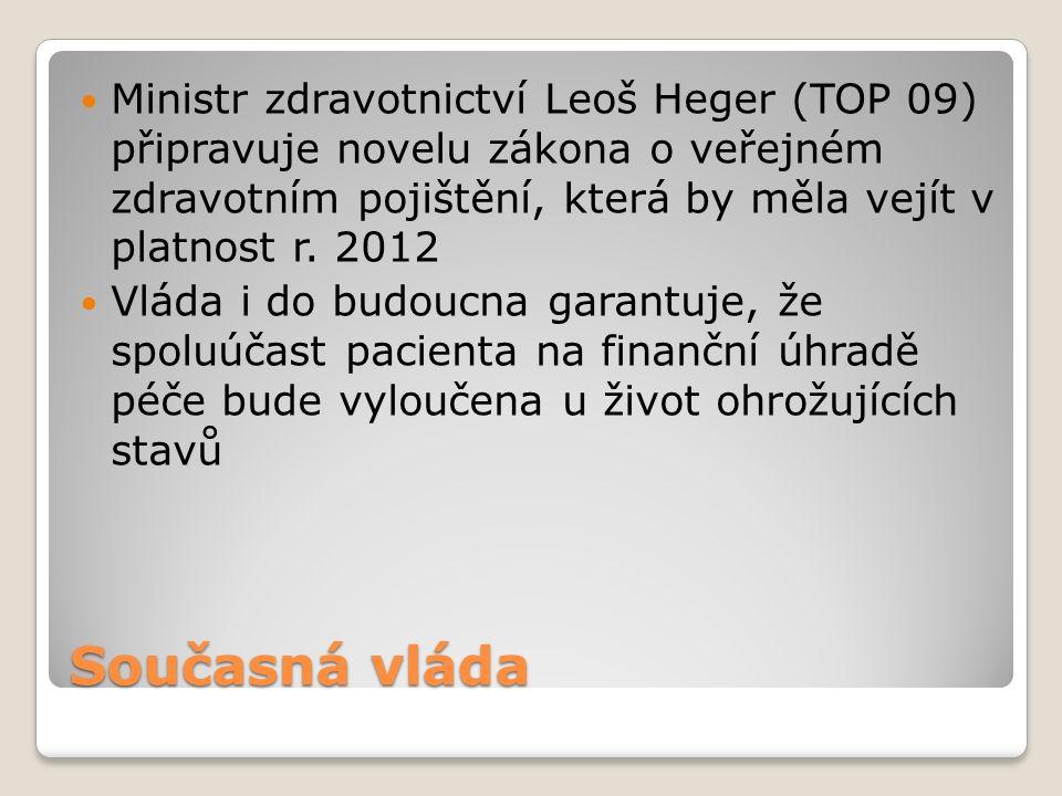Současná vláda Ministr zdravotnictví Leoš Heger (TOP 09) připravuje novelu zákona o veřejném zdravotním pojištění, která by měla vejít v platnost r.