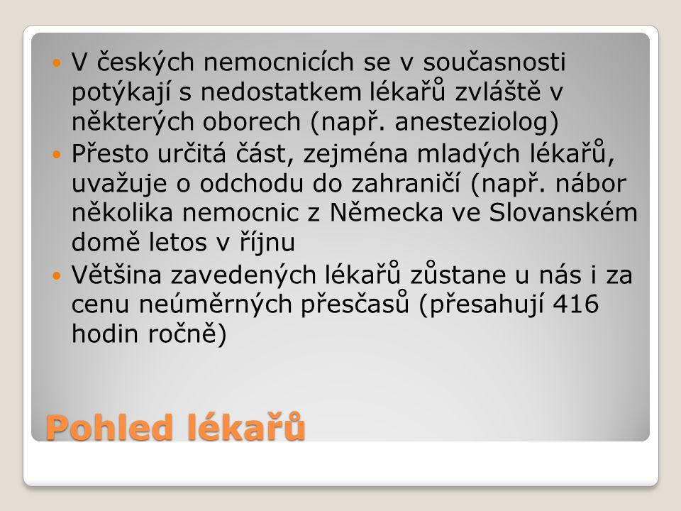 Pohled lékařů V českých nemocnicích se v současnosti potýkají s nedostatkem lékařů zvláště v některých oborech (např.