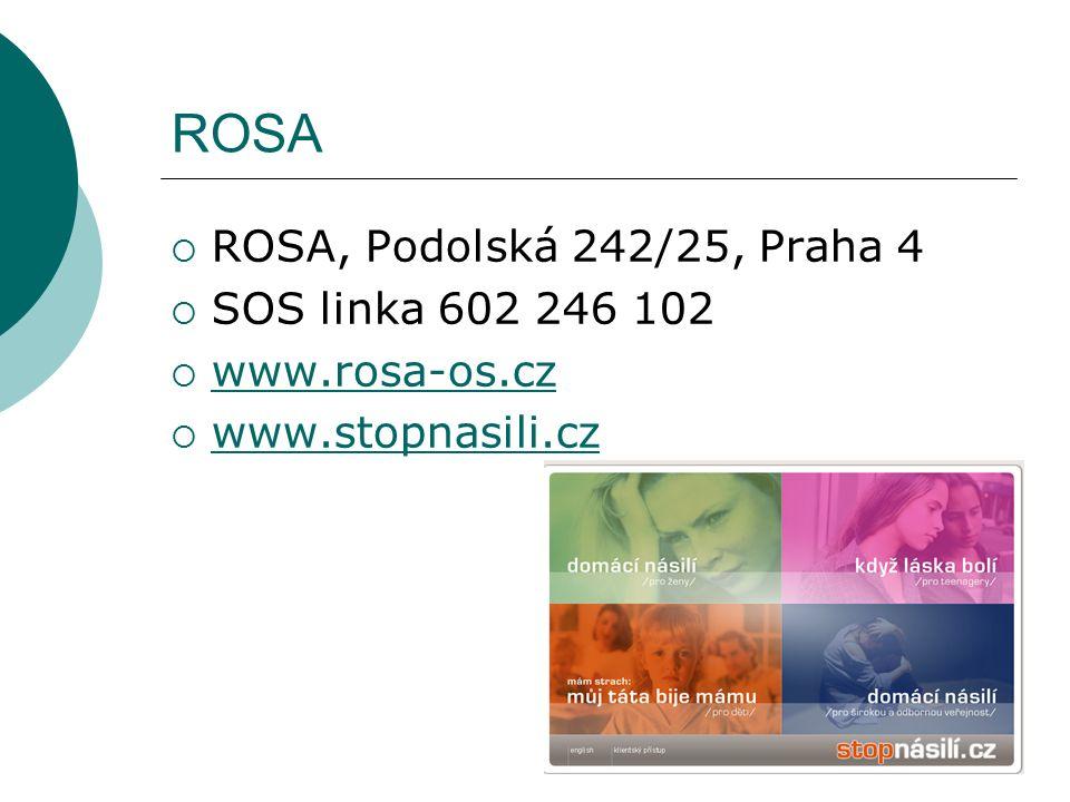 ROSA  ROSA, Podolská 242/25, Praha 4  SOS linka 602 246 102  www.rosa-os.cz www.rosa-os.cz  www.stopnasili.cz www.stopnasili.cz
