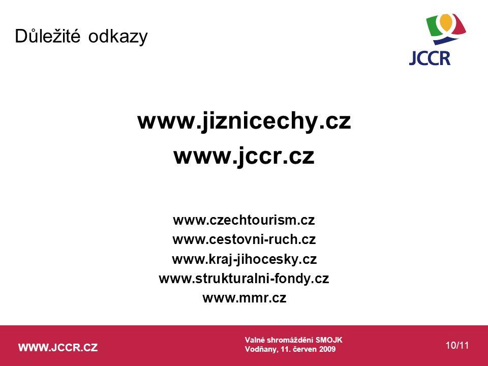 WWW.JCCR.CZ Valné shromáždění SMOJK Vodňany, 11. červen 2009 10/11 www.jiznicechy.cz www.jccr.cz www.czechtourism.cz www.cestovni-ruch.cz www.kraj-jih