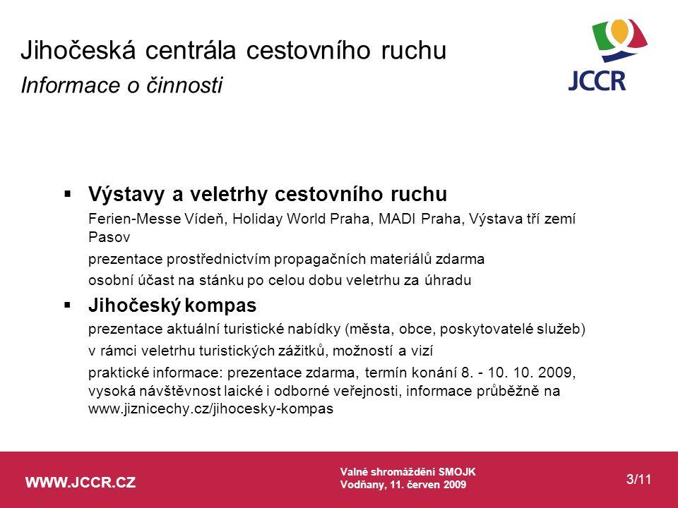 WWW.JCCR.CZ Valné shromáždění SMOJK Vodňany, 11. červen 2009 3/11  Výstavy a veletrhy cestovního ruchu Ferien-Messe Vídeň, Holiday World Praha, MADI