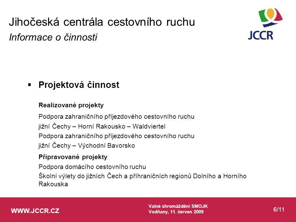WWW.JCCR.CZ Valné shromáždění SMOJK Vodňany, 11. červen 2009 6/11  Projektová činnost Realizované projekty Podpora zahraničního příjezdového cestovní