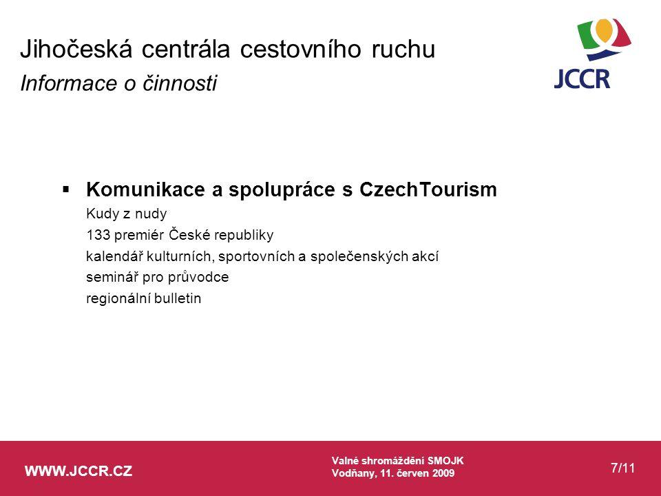 WWW.JCCR.CZ Valné shromáždění SMOJK Vodňany, 11.červen 2009 8/11  Generální partnerství ČEZ, a.s.