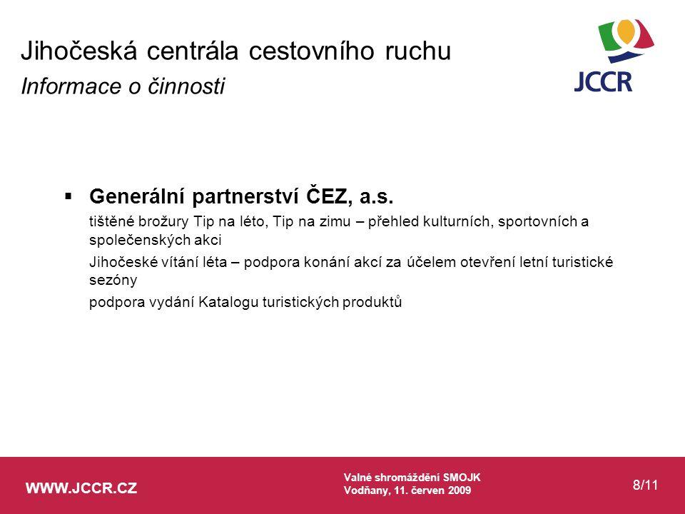 WWW.JCCR.CZ Valné shromáždění SMOJK Vodňany, 11. červen 2009 8/11  Generální partnerství ČEZ, a.s. tištěné brožury Tip na léto, Tip na zimu – přehled