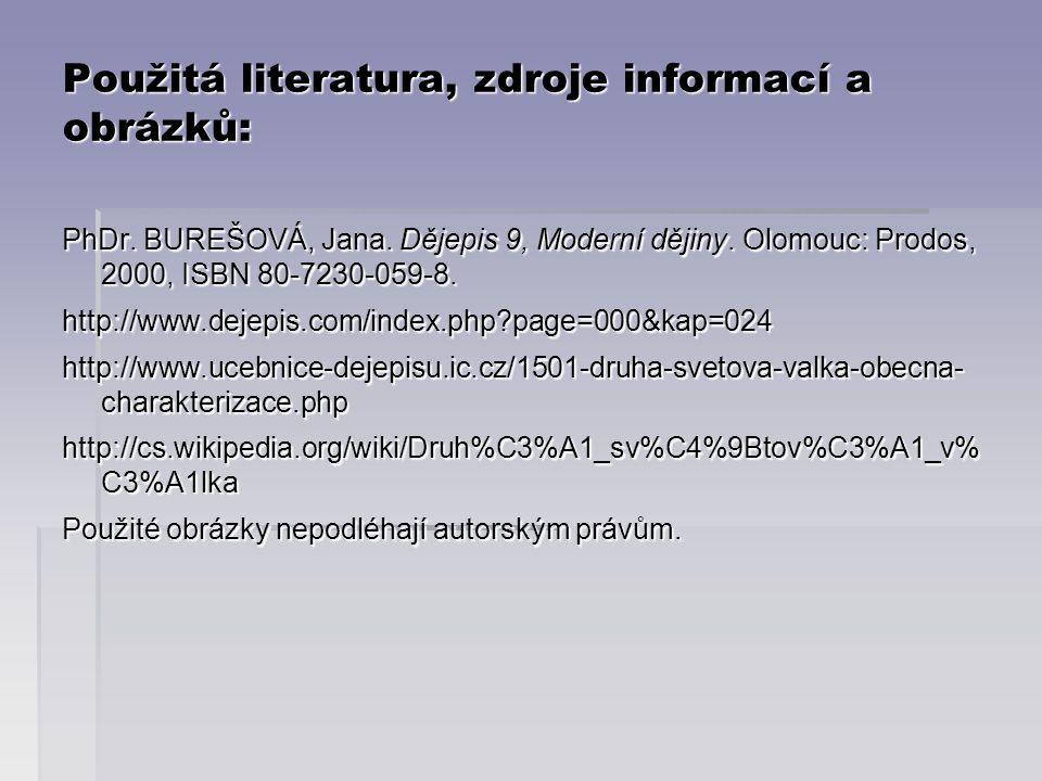 Použitá literatura, zdroje informací a obrázků: PhDr.