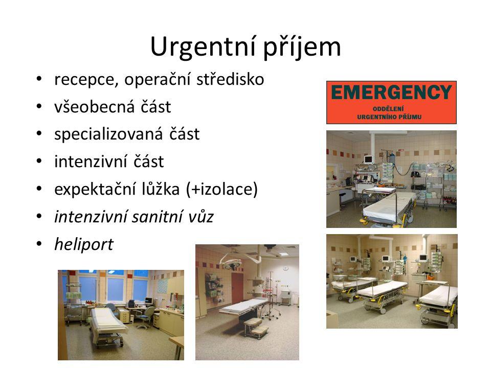 Urgentní příjem recepce, operační středisko všeobecná část specializovaná část intenzivní část expektační lůžka (+izolace) intenzivní sanitní vůz heliport