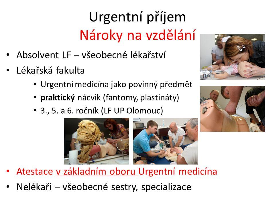 Urgentní příjem Nároky na vzdělání Absolvent LF – všeobecné lékařství Lékařská fakulta Urgentní medicína jako povinný předmět praktický nácvik (fantomy, plastináty) 3., 5.