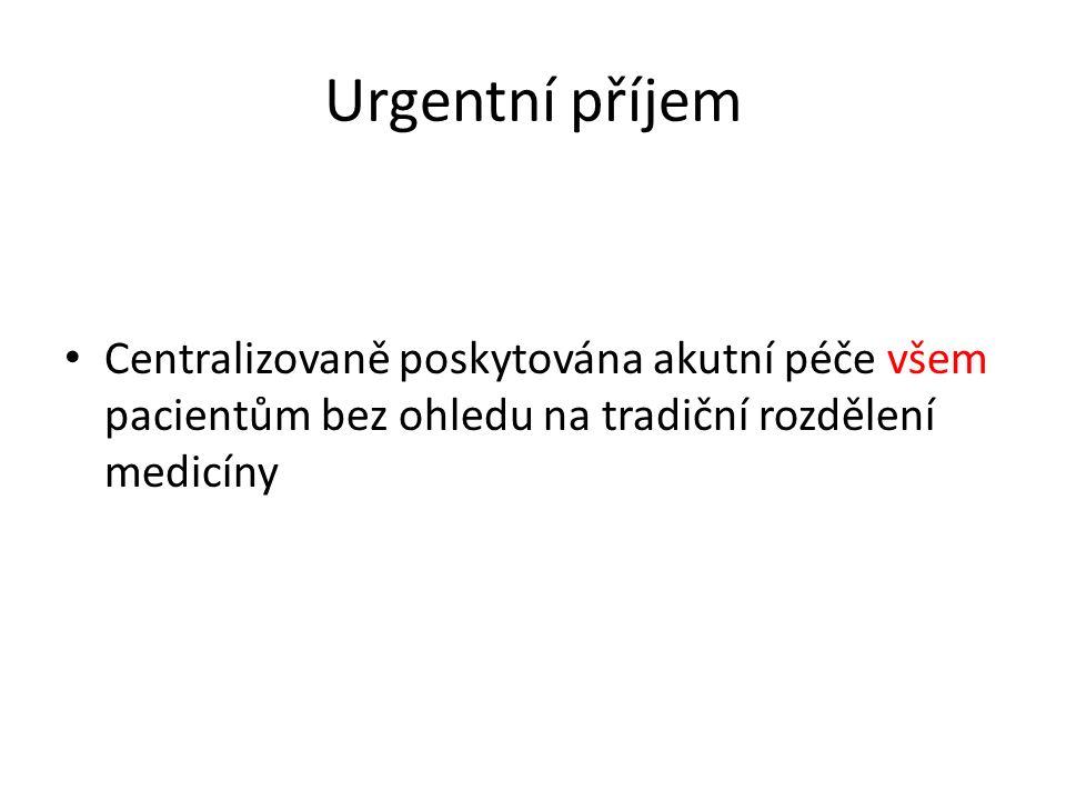Urgentní příjem Centralizovaně poskytována akutní péče všem pacientům bez ohledu na tradiční rozdělení medicíny