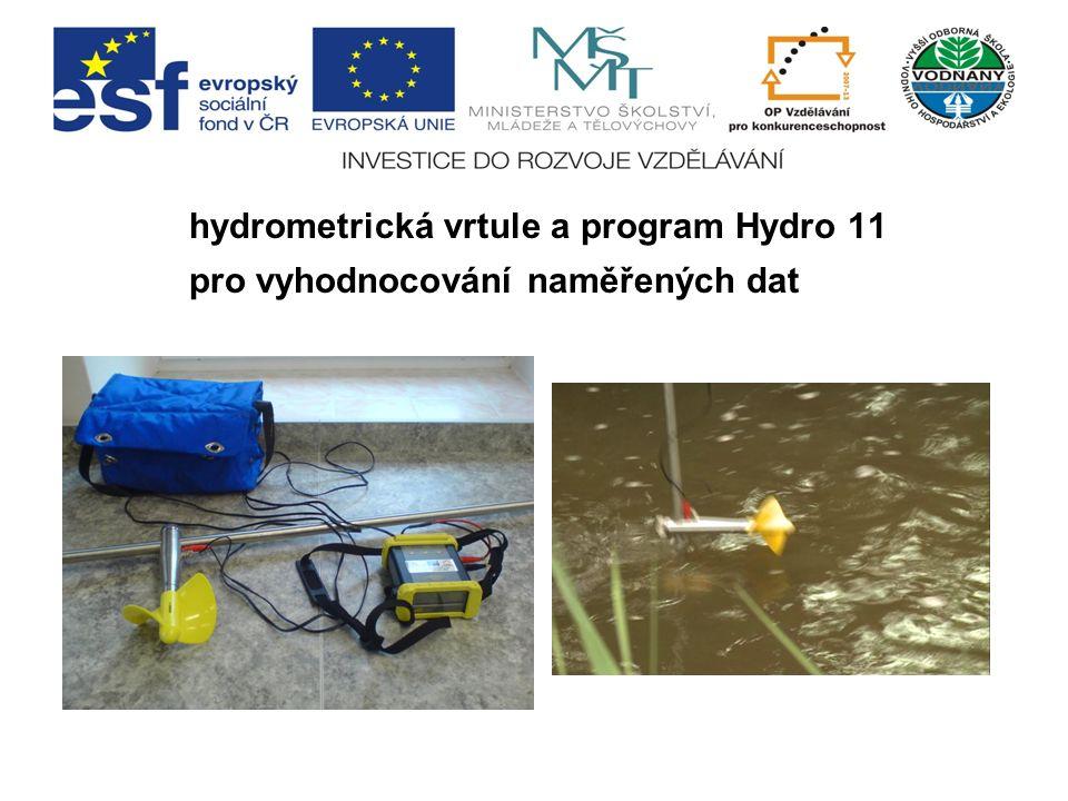 hydrometrická vrtule a program Hydro 11 pro vyhodnocování naměřených dat