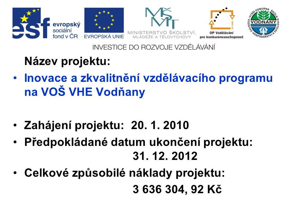 Název projektu: Inovace a zkvalitnění vzdělávacího programu na VOŠ VHE Vodňany Zahájení projektu: 20.