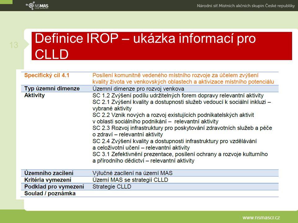 Definice IROP – ukázka informací pro CLLD www.nsmascr.cz 13