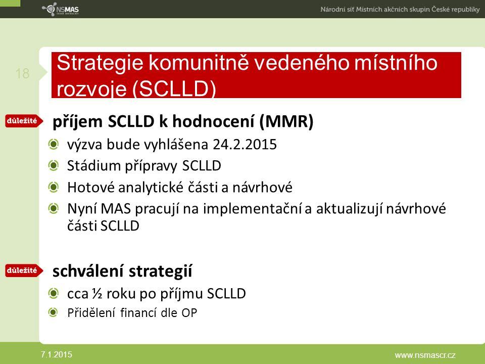 Strategie komunitně vedeného místního rozvoje (SCLLD) příjem SCLLD k hodnocení (MMR) výzva bude vyhlášena 24.2.2015 Stádium přípravy SCLLD Hotové analytické části a návrhové Nyní MAS pracují na implementační a aktualizují návrhové části SCLLD schválení strategií cca ½ roku po příjmu SCLLD Přidělení financí dle OP 7.1.2015 www.nsmascr.cz 18