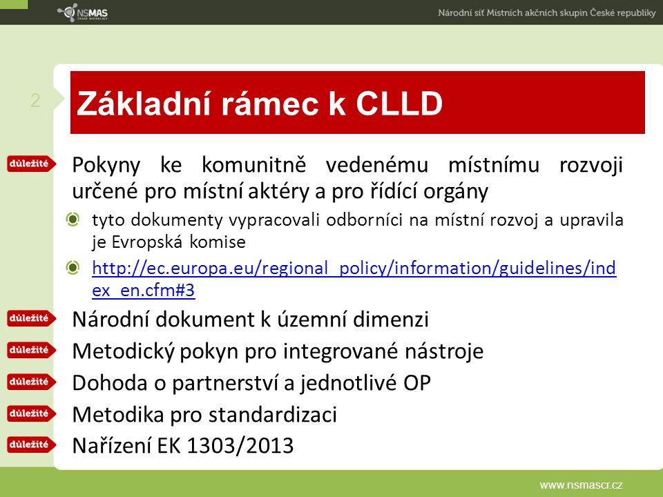 Základní rámec k CLLD Pokyny ke komunitně vedenému místnímu rozvoji určené pro místní aktéry a pro řídící orgány tyto dokumenty vypracovali odborníci