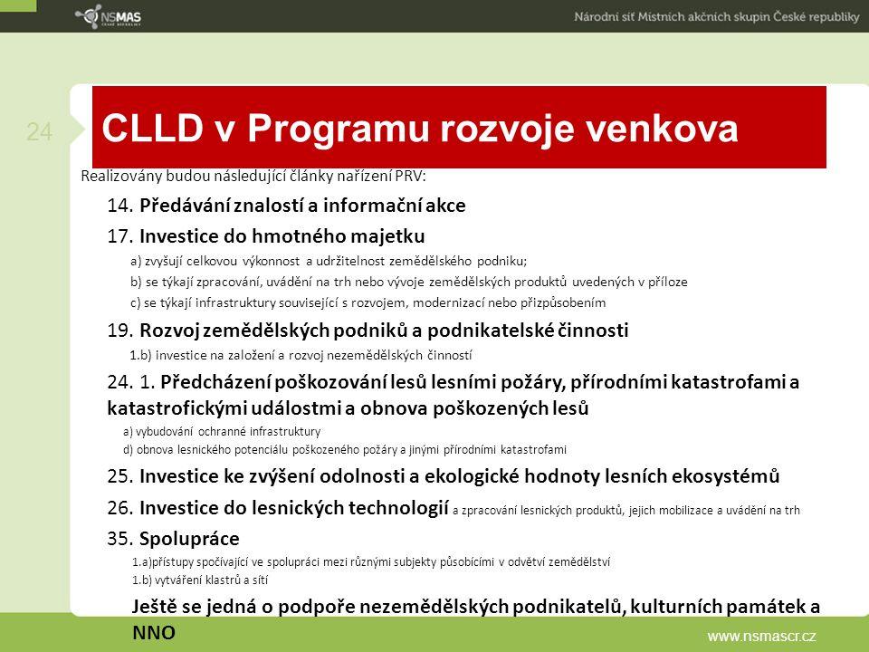CLLD v Programu rozvoje venkova Realizovány budou následující články nařízení PRV: 14.