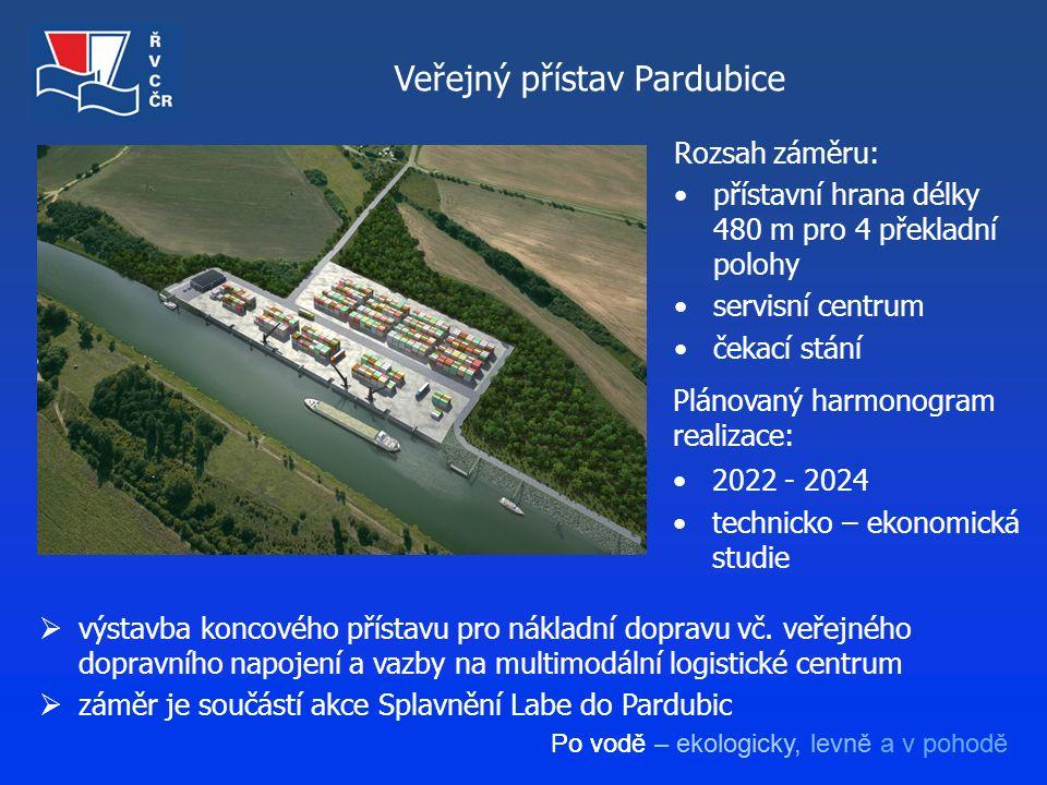 Po vodě – ekologicky, levně a v pohodě Veřejný přístav Pardubice Rozsah záměru: přístavní hrana délky 480 m pro 4 překladní polohy servisní centrum če