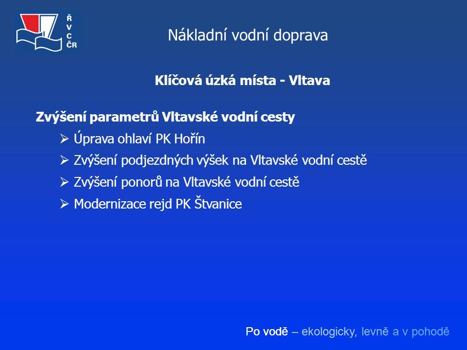 Po vodě – ekologicky, levně a v pohodě Nákladní vodní doprava Zvýšení parametrů Vltavské vodní cesty  Úprava ohlaví PK Hořín  Zvýšení podjezdných vý