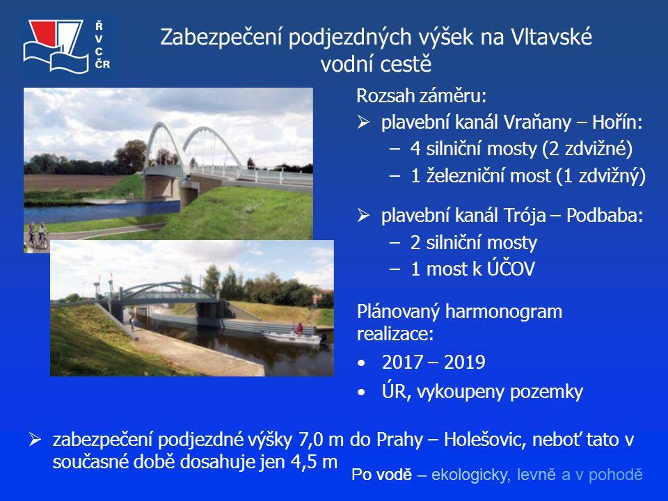 Po vodě – ekologicky, levně a v pohodě Zabezpečení podjezdných výšek na Vltavské vodní cestě  zabezpečení podjezdné výšky 7,0 m do Prahy – Holešovic,