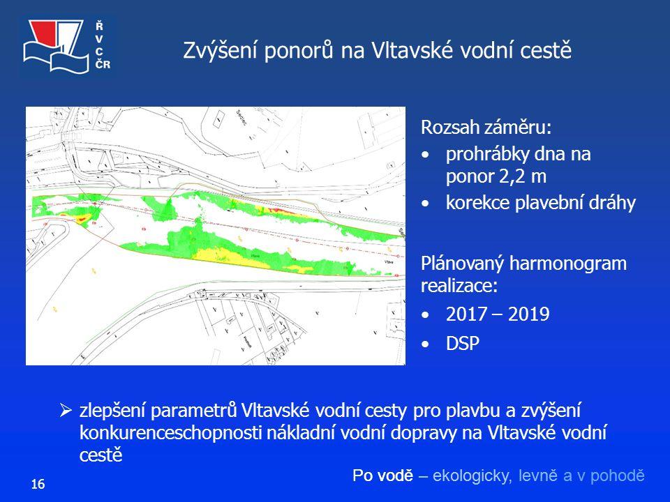 Po vodě – ekologicky, levně a v pohodě 16 Zvýšení ponorů na Vltavské vodní cestě Rozsah záměru: prohrábky dna na ponor 2,2 m korekce plavební dráhy 
