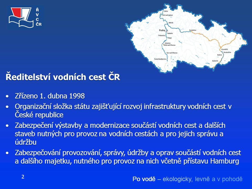 Po vodě – ekologicky, levně a v pohodě 2 Ředitelství vodních cest ČR Zřízeno 1. dubna 1998 Organizační složka státu zajišťující rozvoj infrastruktury