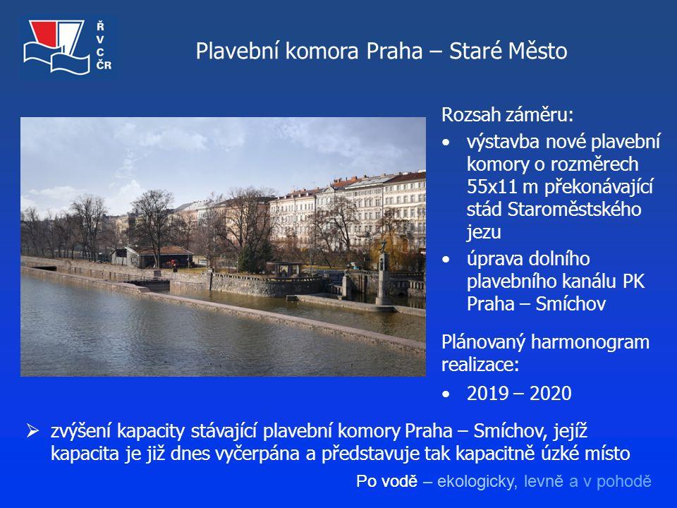 Po vodě – ekologicky, levně a v pohodě Plavební komora Praha – Staré Město Rozsah záměru: výstavba nové plavební komory o rozměrech 55x11 m překonávaj