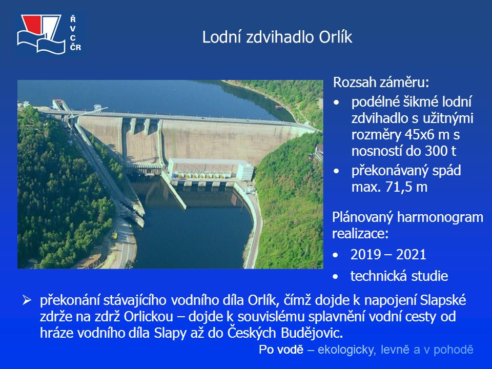 Po vodě – ekologicky, levně a v pohodě Lodní zdvihadlo Orlík  překonání stávajícího vodního díla Orlík, čímž dojde k napojení Slapské zdrže na zdrž O