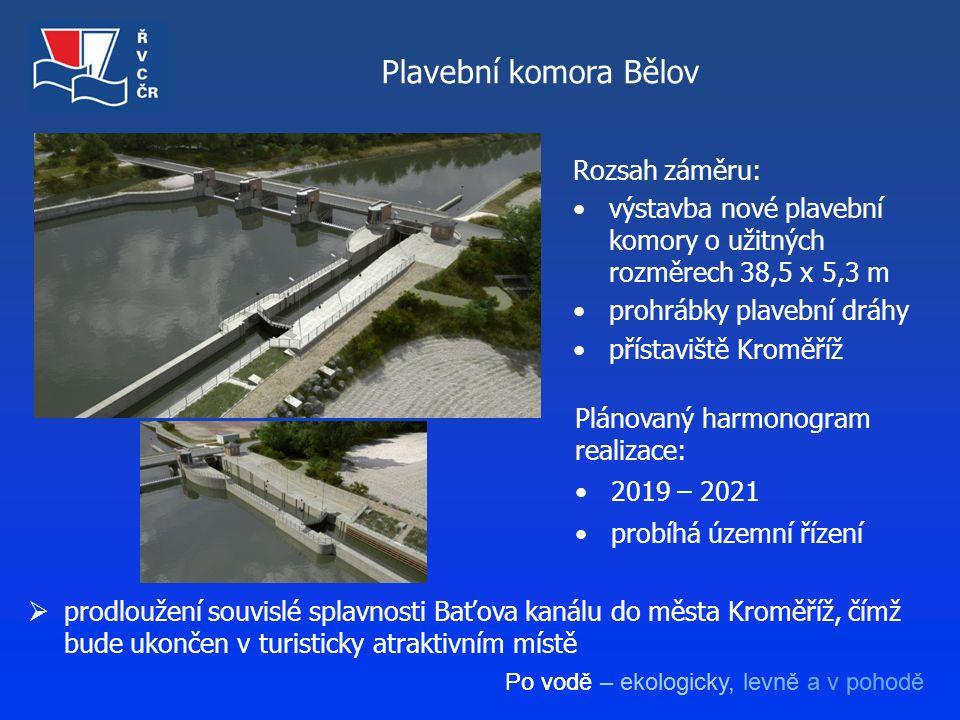 Po vodě – ekologicky, levně a v pohodě Plavební komora Bělov  prodloužení souvislé splavnosti Baťova kanálu do města Kroměříž, čímž bude ukončen v tu