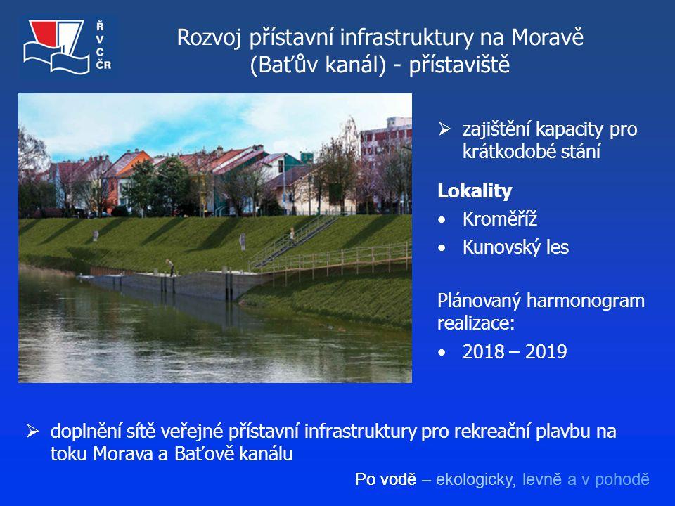 Po vodě – ekologicky, levně a v pohodě Rozvoj přístavní infrastruktury na Moravě (Baťův kanál) - přístaviště  doplnění sítě veřejné přístavní infrast