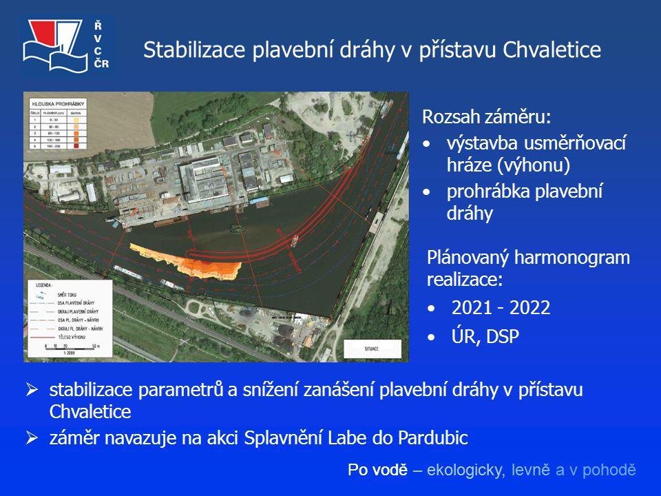 Po vodě – ekologicky, levně a v pohodě Stabilizace plavební dráhy v přístavu Chvaletice Rozsah záměru: výstavba usměrňovací hráze (výhonu) prohrábka p