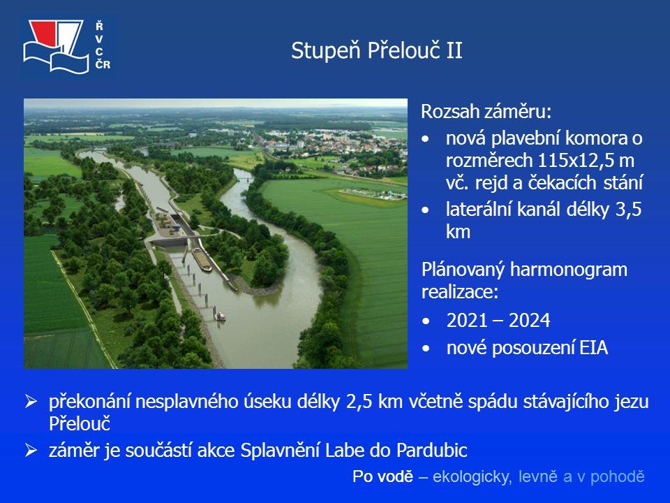 Po vodě – ekologicky, levně a v pohodě Stupeň Přelouč II  překonání nesplavného úseku délky 2,5 km včetně spádu stávajícího jezu Přelouč  záměr je s