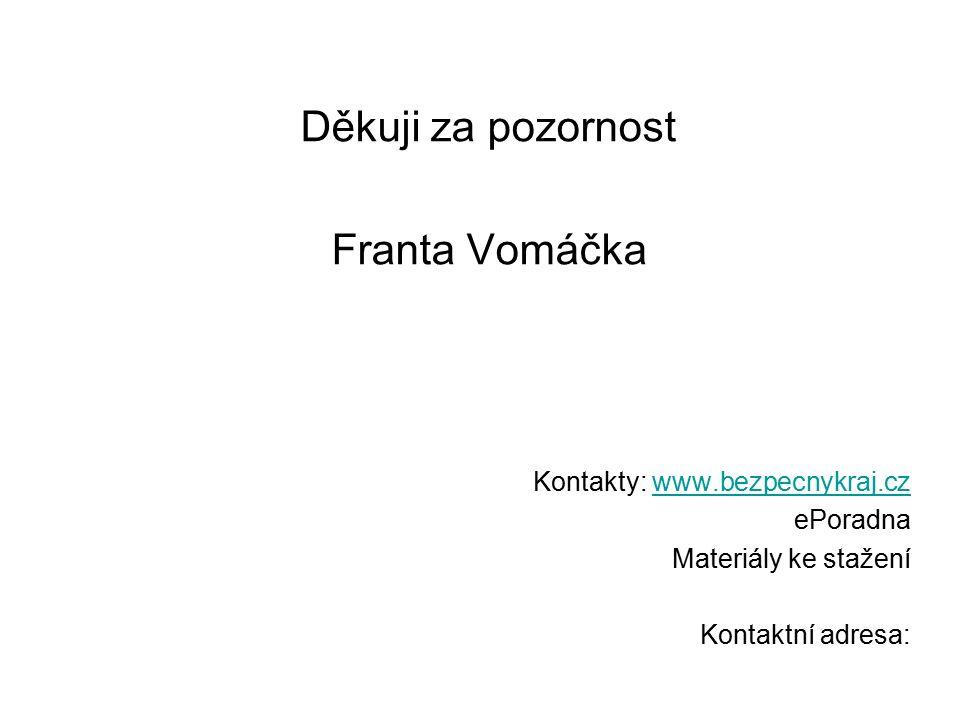 Děkuji za pozornost Franta Vomáčka Kontakty: www.bezpecnykraj.czwww.bezpecnykraj.cz ePoradna Materiály ke stažení Kontaktní adresa: