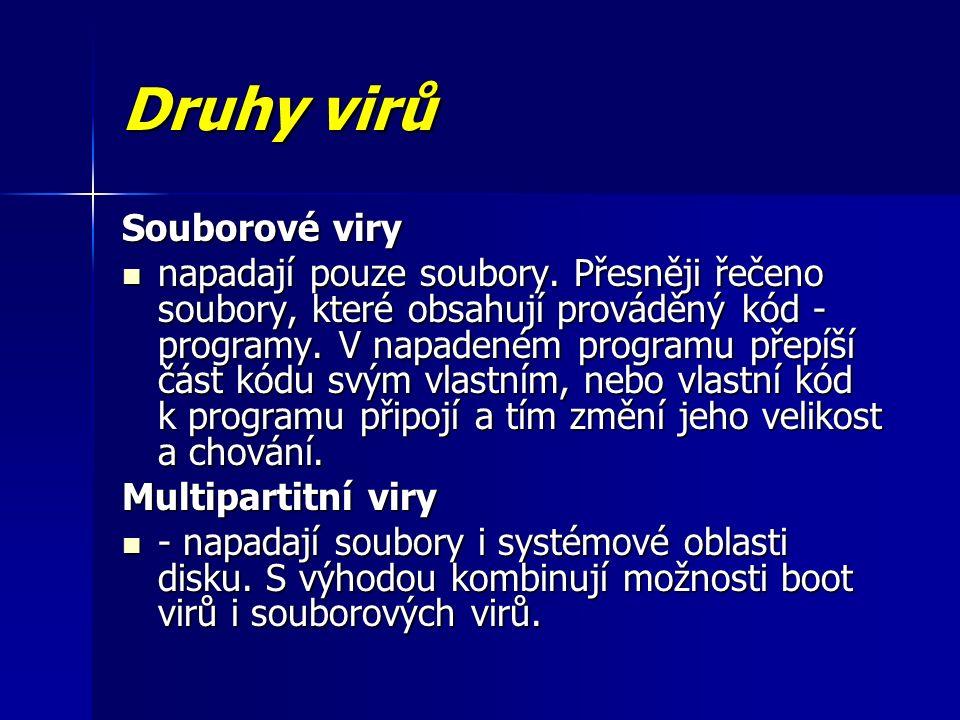 Druhy virů Souborové viry napadají pouze soubory.