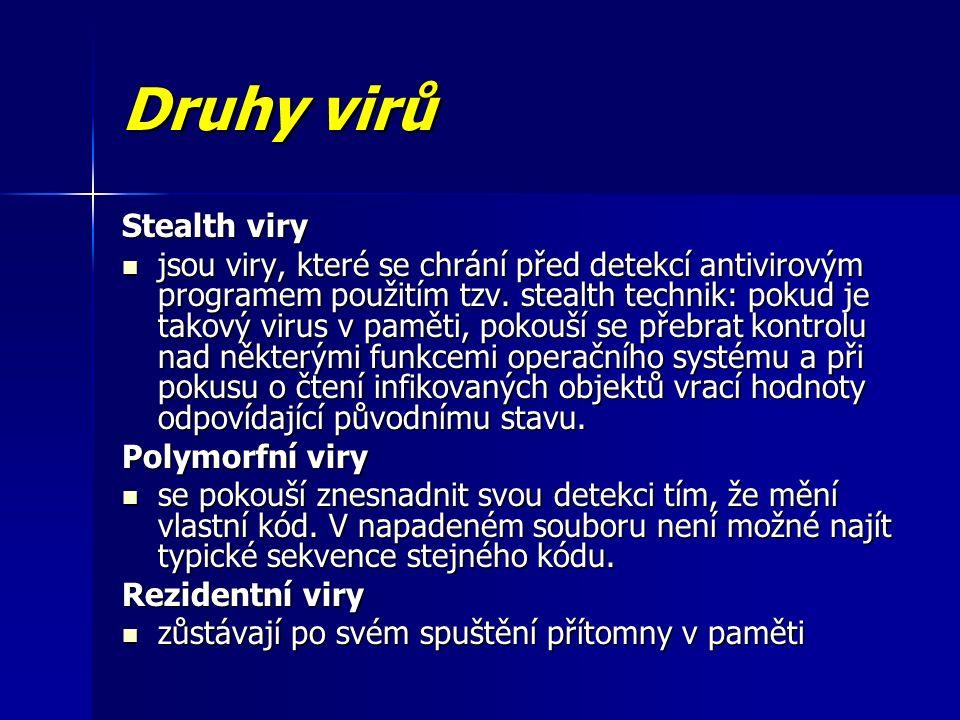 Druhy virů Stealth viry jsou viry, které se chrání před detekcí antivirovým programem použitím tzv.