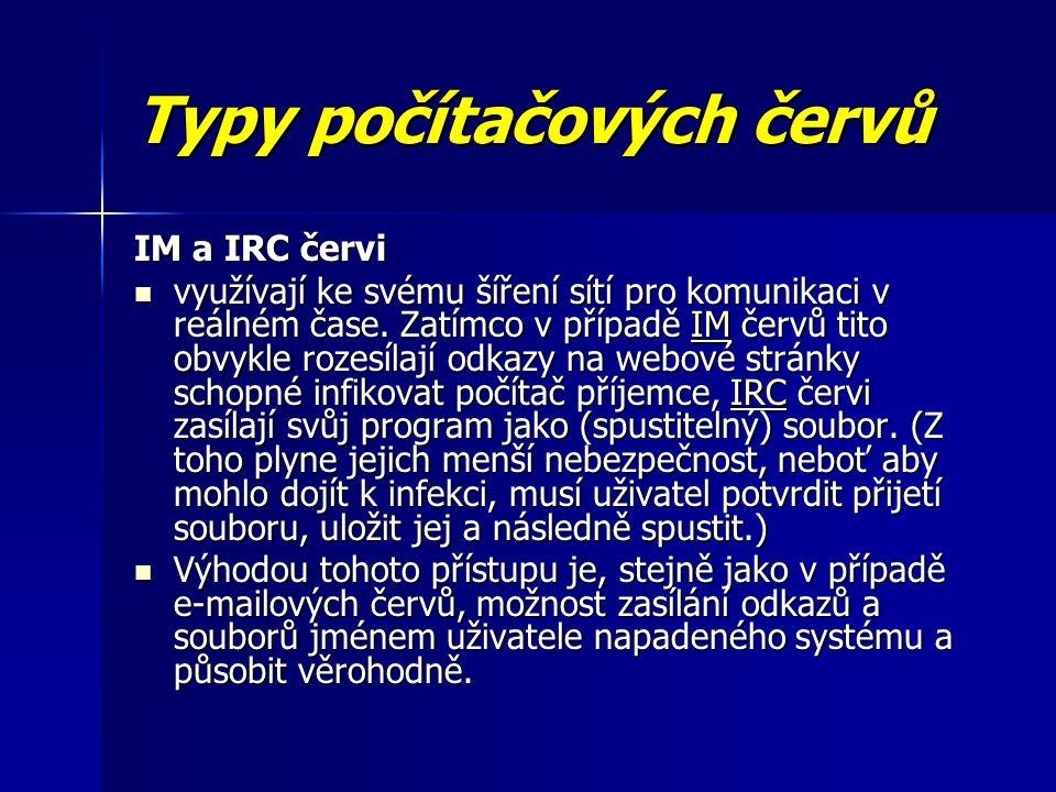 Typy počítačových červů IM a IRC červi využívají ke svému šíření sítí pro komunikaci v reálném čase.