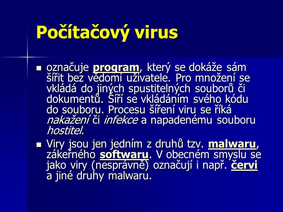 Ochrana před počítačovými viry Rezidentní sledování V systému je neustále spuštěn proces, který kontroluje prováděné operace.