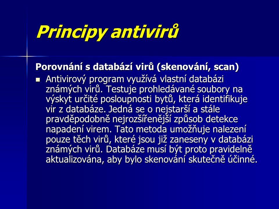 Principy antivirů Porovnání s databází virů (skenování, scan) Antivirový program využívá vlastní databázi známých virů.