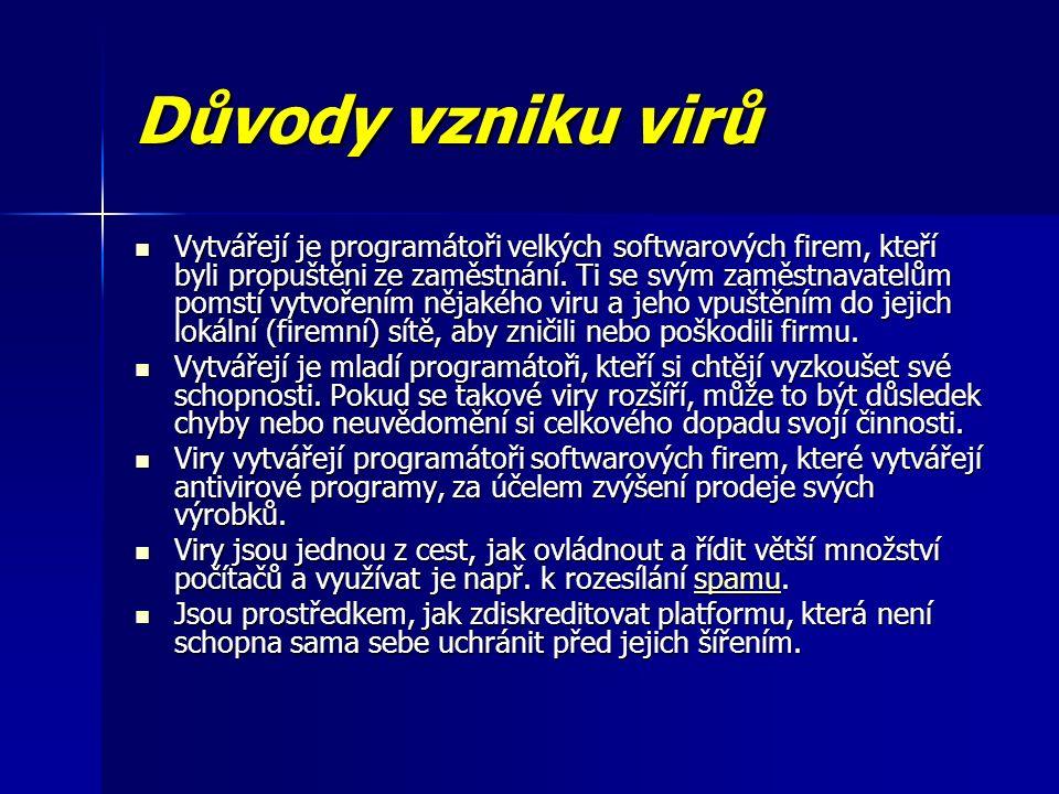 Druhy virů - podle hostitele Spustitelné soubory – COM a EXE programy v prostředí DOSu, EXE soubory v Microsoft Windows, ELF soubory v UNIXu atd.