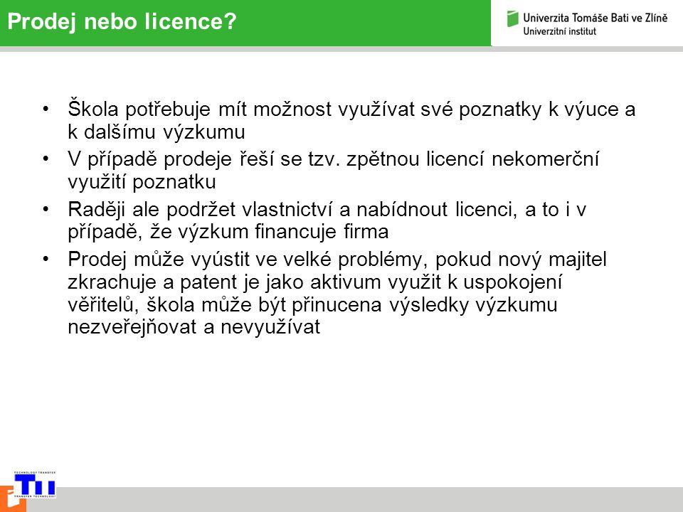 Prodej nebo licence.