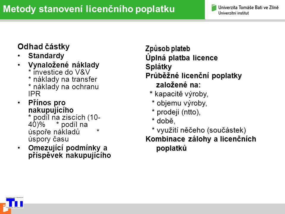 Metody stanovení licenčního poplatku Odhad částky Standardy Vynaložené náklady * investice do V&V * náklady na transfer * náklady na ochranu IPR Přínos pro nakupujícího * podíl na ziscích (10- 40)% * podíl na úspoře nákladů * úspory času Omezující podmínky a příspěvek nakupujícího Způsob plateb Úplná platba licence Splátky Průběžné licenční poplatky založené na: * kapacitě výroby, * kapacitě výroby, * objemu výroby, * objemu výroby, * prodeji (ntto), * prodeji (ntto), * době, * době, * využití něčeho (součástek) * využití něčeho (součástek) Kombinace zálohy a licenčních poplatků